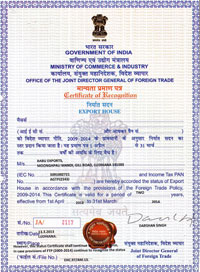 global engineering exports certificate of export india