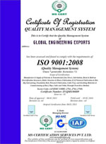 global engineering exports india - iso 9001:2008 certificate